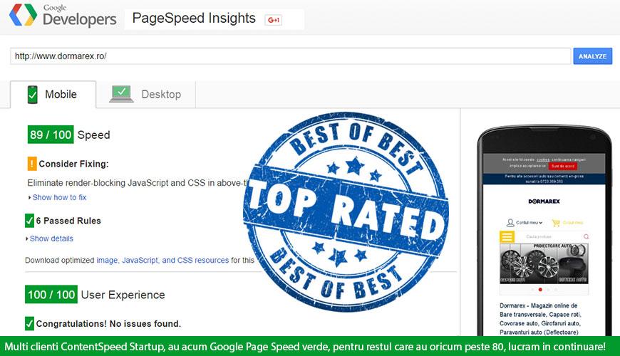 Google Page Speed este verde pe platforma ContentSpeed Startup